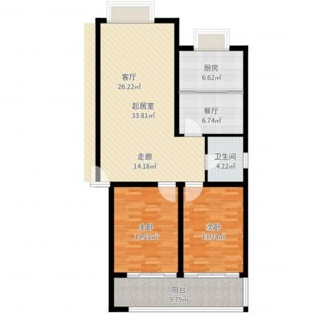 富丽园小区2室1厅1卫1厨111.00㎡户型图