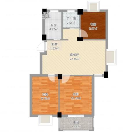 万景梅庭3室2厅1卫1厨78.00㎡户型图
