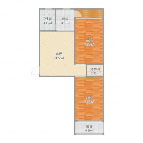 华夏家园B区2室1厅1卫1厨91.00㎡户型图