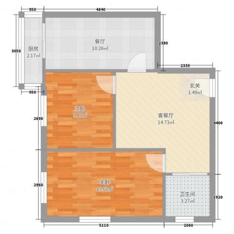 八一路小区2室3厅1卫1厨87.00㎡户型图