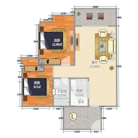 阜丰豪庭2室1厅1卫1厨77.00㎡户型图