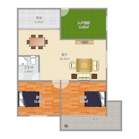 华侨海景城二期2室1厅1卫1厨103.00㎡户型图