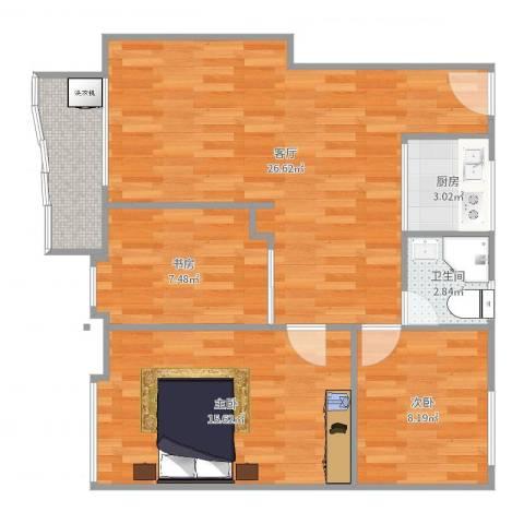 都市花园3室1厅1卫1厨85.00㎡户型图