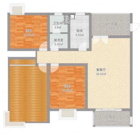 泰恒华府2室2厅1卫1厨131.00㎡户型图