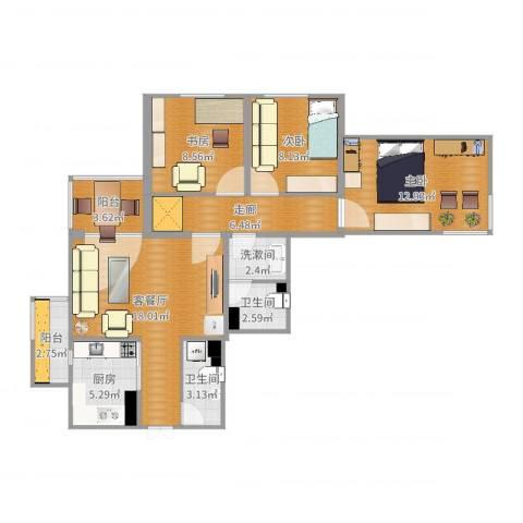 万寿路甲15号院3室0厅2卫1厨92.00㎡户型图