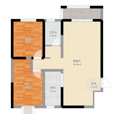 城南都市嘉园二期2室2厅1卫1厨85.00㎡户型图