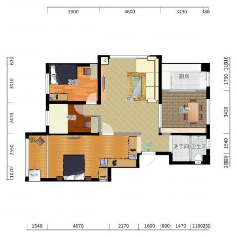 昌鸿小区3室2厅1卫1厨133户型图