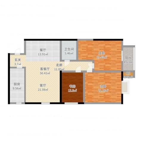 贝特智能佳园3室2厅1卫1厨158.00㎡户型图