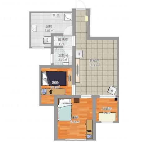 简爱城3室4厅1卫1厨61.00㎡户型图