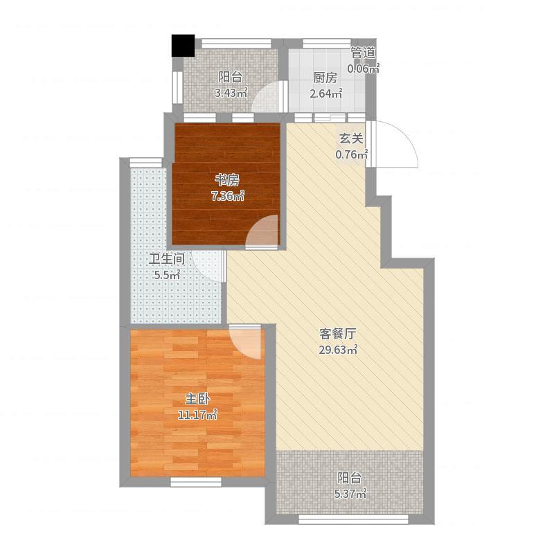龙城国际花园85.00㎡户型2室2厅1卫-副本户型图