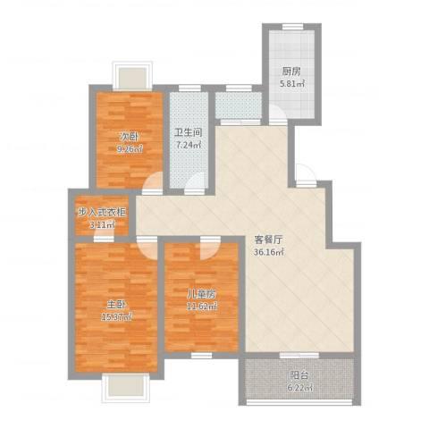 山韵佳苑3室2厅1卫1厨118.00㎡户型图