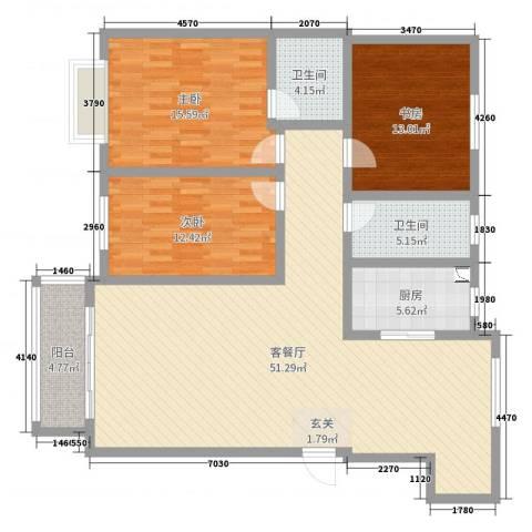 呼市金桥开发区天赋林溪小区3室2厅2卫1厨140.00㎡户型图