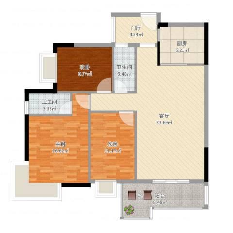 罗定福泰花园3室1厅2卫1厨120.00㎡户型图