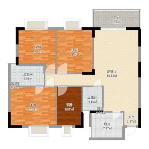 金沙龙山水怡花园4室2厅2卫1厨145.00㎡户型图