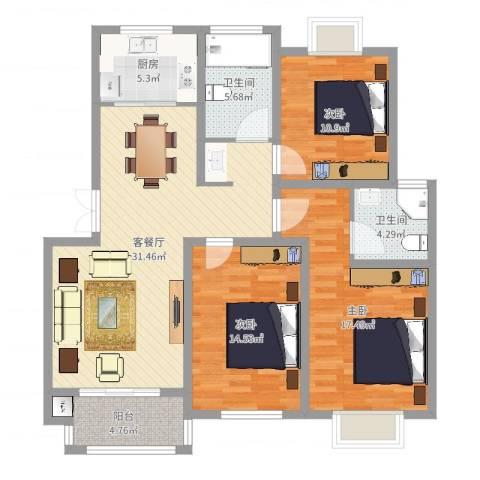 中科碧水豪庭3室2厅2卫1厨118.00㎡户型图