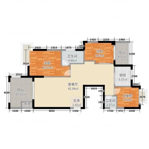 蓝月湾3室2厅2卫1厨130.00㎡户型图