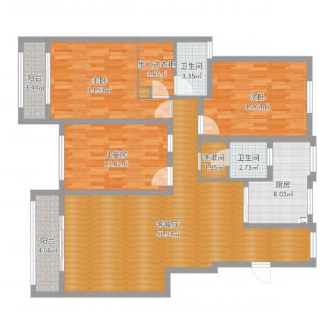 帝景观澜3室2厅2卫1厨142.00㎡户型图