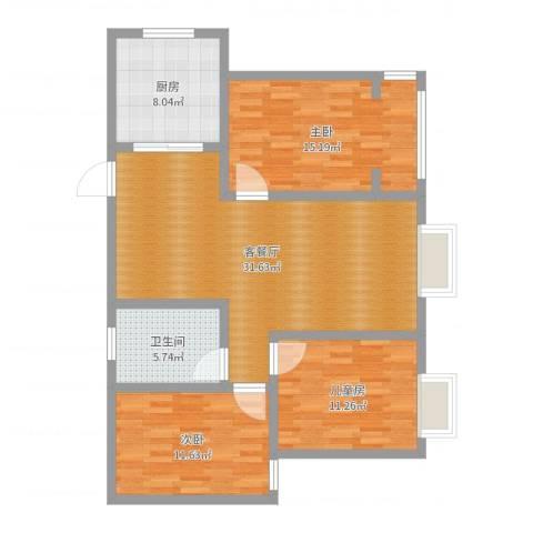 都市绿城3室2厅1卫1厨104.00㎡户型图