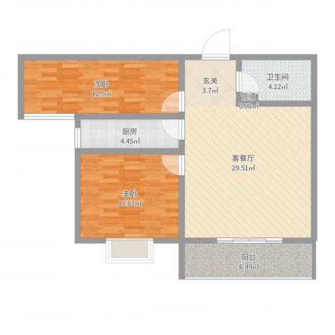 隆安东方明珠2室2厅1卫1厨88.00㎡户型图