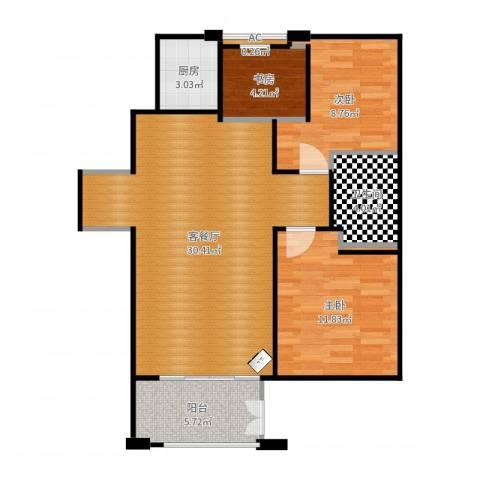 绿地香树花城3室2厅1卫1厨85.00㎡户型图