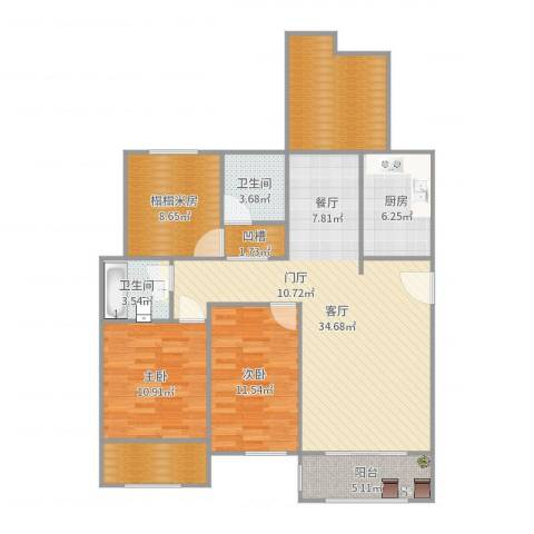 沁园春-居2室1厅2卫1厨124.00㎡户型图
