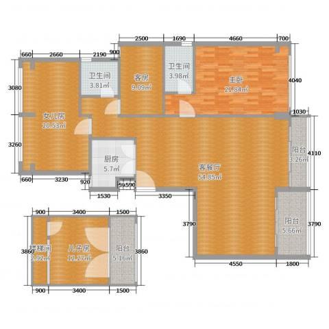 佛山力迅上筑1室2厅2卫1厨186.00㎡户型图