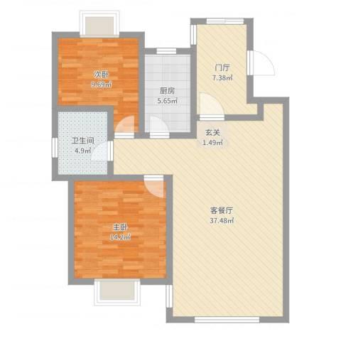 天房意墅2室2厅1卫1厨99.00㎡户型图