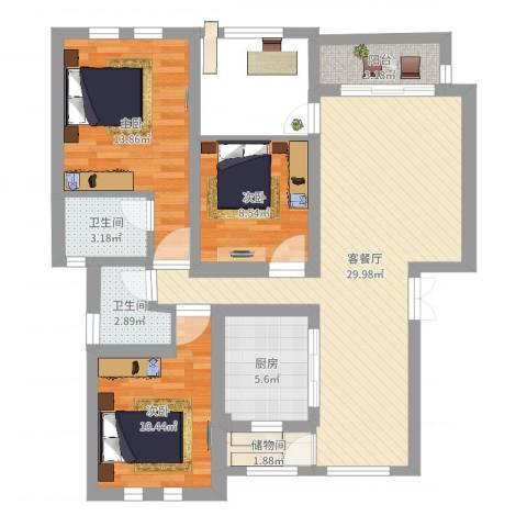 尼盛西城3室2厅2卫1厨99.00㎡户型图