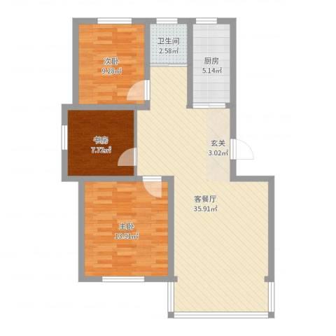 城南春晓3室2厅1卫1厨93.00㎡户型图