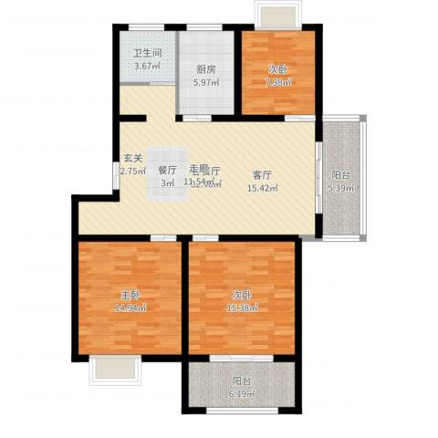 锦绣江南花园3室2厅1卫1厨115.00㎡户型图