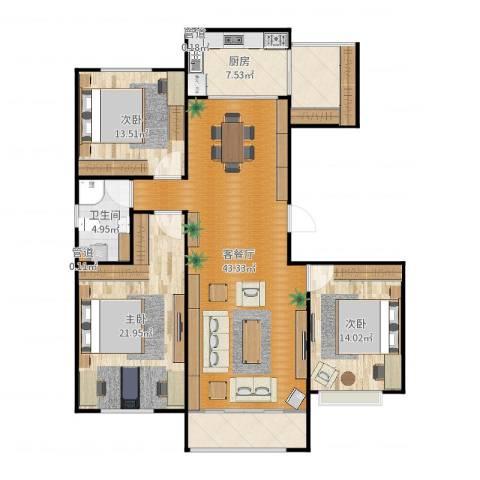 绿地香树花城3室2厅4卫2厨146.00㎡户型图