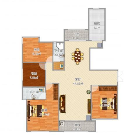 新方嘉园4室1厅2卫1厨145.00㎡户型图