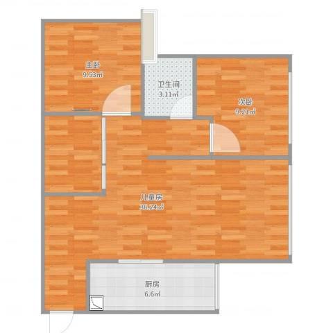 港城铜锣湾3室0厅1卫1厨81.00㎡户型图