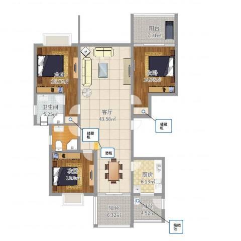 城中花园3室1厅1卫1厨148.00㎡户型图