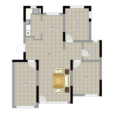 绿地卢浮公馆3室1厅1卫0厨96.00㎡户型图