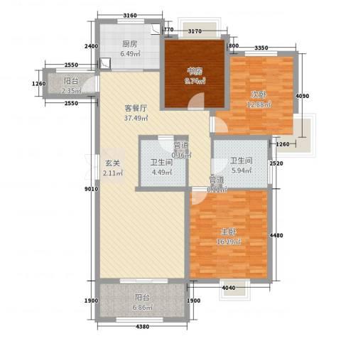 江阴五矿黄山湖壹号3室2厅2卫1厨128.00㎡户型图
