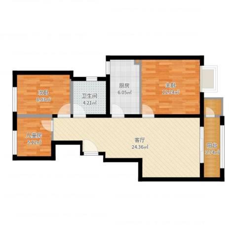 众美城3室1厅1卫1厨81.00㎡户型图