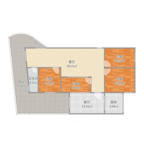 富怡三区4室2厅1卫1厨177.00㎡户型图
