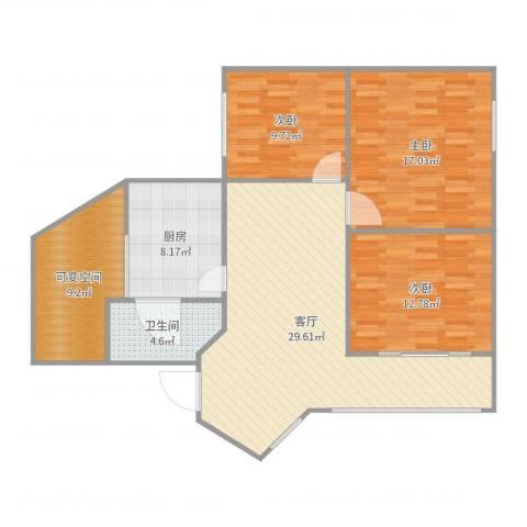 倍特枫林苑3室1厅1卫1厨114.00㎡户型图