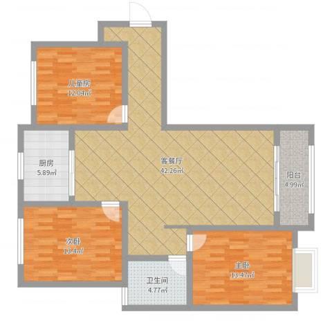 都市绿城3室2厅1卫1厨121.00㎡户型图