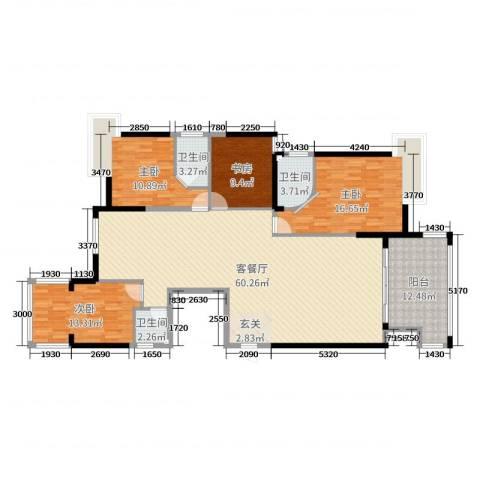 蓝月湾4室2厅3卫0厨132.23㎡户型图