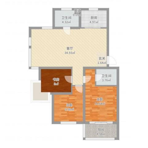 菁华时代3室1厅2卫1厨107.00㎡户型图