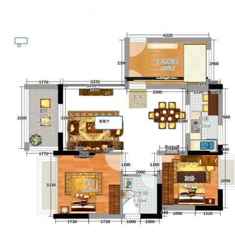 火炬开发区雅景花园2室0厅1卫1厨89.00㎡户型图