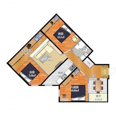 城市经典3室1厅1卫1厨100.00㎡户型图