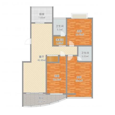 长虹小区3室1厅2卫1厨165.00㎡户型图