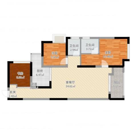 宁乡蓝色港湾3室2厅2卫1厨101.00㎡户型图