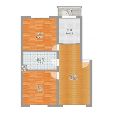 荣兴新越2室2厅1卫1厨80.00㎡户型图
