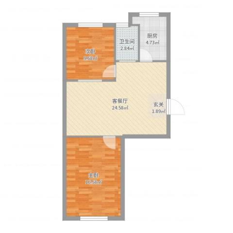 信德・水岸华城2室2厅1卫1厨73.00㎡户型图
