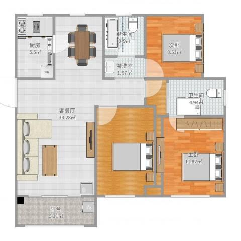 沁园春居2室4厅2卫1厨113.00㎡户型图