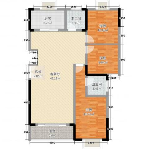汨罗市学府花园3室2厅2卫1厨110.00㎡户型图